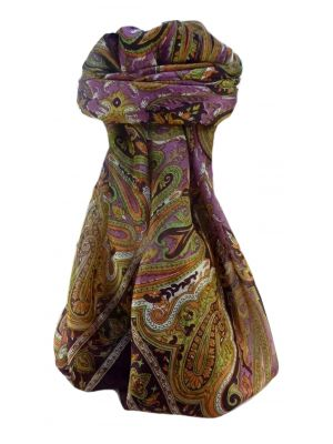 Mulberry Silk Traditional Square Scarf Karun Maroon by Pashmina & Silk