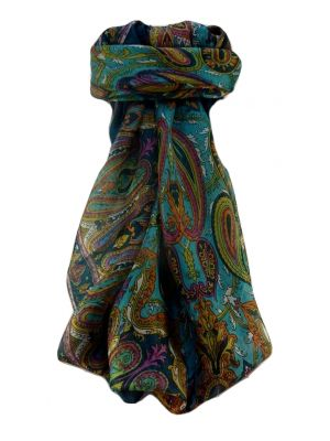 Mulberry Silk Traditional Square Scarf Karun Teal by Pashmina & Silk
