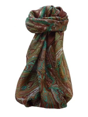 Mulberry Silk Traditional Square Scarf Karun Chestnut by Pashmina & Silk