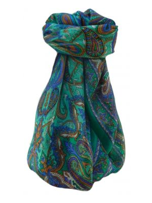 Mulberry Silk Traditional Square Scarf Karun Emerald by Pashmina & Silk
