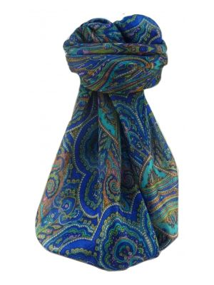 Mulberry Silk Traditional Square Scarf Kiya Blue by Pashmina & Silk