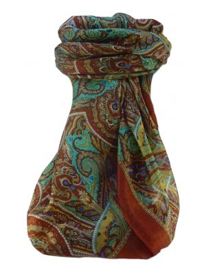 Mulberry Silk Traditional Square Scarf Kiya Copper by Pashmina & Silk