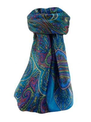 Mulberry Silk Traditional Square Scarf Kiya Aqua by Pashmina & Silk