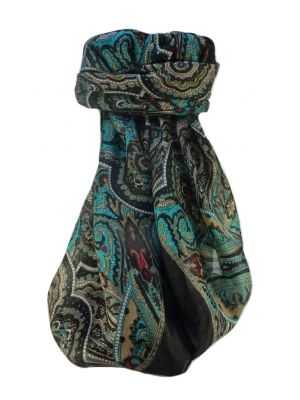 Mulberry Silk Traditional Square Scarf Kiya Black by Pashmina & Silk