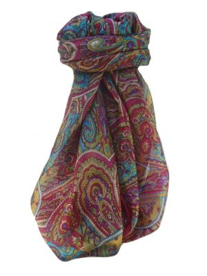 Mulberry Silk Traditional Square Scarf Kiya Pink by Pashmina & Silk