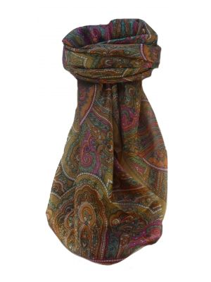 Mulberry Silk Traditional Square Scarf Kiya Chestnut by Pashmina & Silk