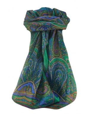 Mulberry Silk Traditional Square Scarf Kiya Emerald by Pashmina & Silk