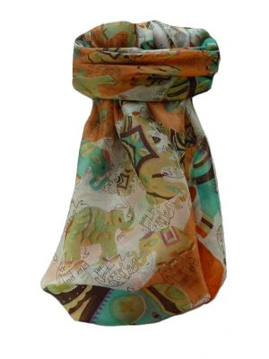 Mulberry Silk Traditional Square Scarf Lakshmi Marigold by Pashmina & Silk