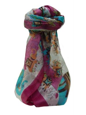Mulberry Silk Traditional Square Scarf Lakshmi Pink by Pashmina & Silk