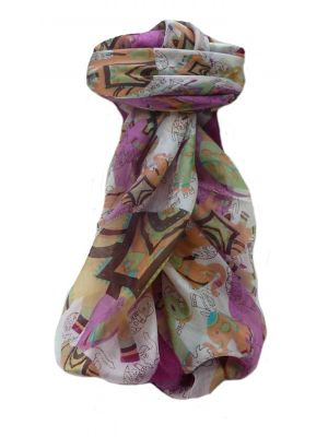 Mulberry Silk Traditional Square Scarf Lakshmi Violet by Pashmina & Silk