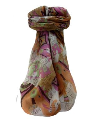 Mulberry Silk Traditional Square Scarf Lakshmi Chestnut by Pashmina & Silk