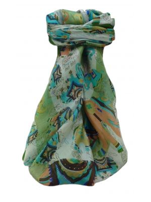 Mulberry Silk Traditional Square Scarf Lakshmi Sage by Pashmina & Silk