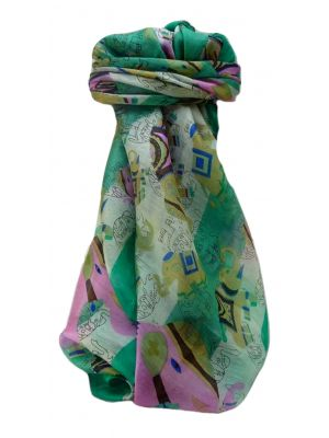 Mulberry Silk Traditional Square Scarf Lakshmi Emerald by Pashmina & Silk
