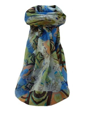Mulberry Silk Traditional Square Scarf Lakshmi Blue by Pashmina & Silk
