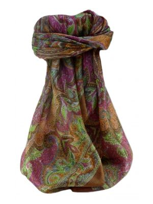 Mulberry Silk Traditional Square Scarf Mishti Chestnut by Pashmina & Silk