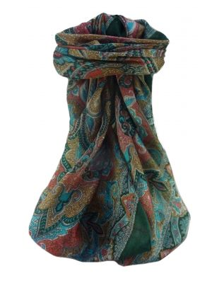 Mulberry Silk Traditional Square Scarf Mishti Teal by Pashmina & Silk