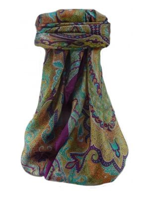 Mulberry Silk Traditional Square Scarf Mishti Violet by Pashmina & Silk