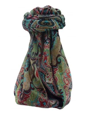 Mulberry Silk Traditional Square Scarf Mishti Black by Pashmina & Silk