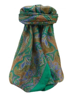 Mulberry Silk Traditional Square Scarf Mishti Emerald by Pashmina & Silk