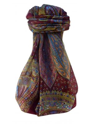 Mulberry Silk Traditional Square Scarf Nanda Maroon by Pashmina & Silk