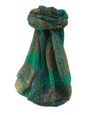 Mulberry Silk Traditional Square Scarf Nanda Emerald by Pashmina & Silk