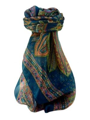 Mulberry Silk Traditional Square Scarf Nanda Teal by Pashmina & Silk