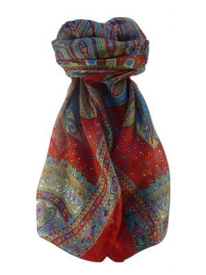Mulberry Silk Traditional Square Scarf Nanda Scarlet by Pashmina & Silk