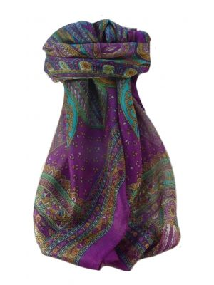 Mulberry Silk Traditional Square Scarf Nanda Violet by Pashmina & Silk