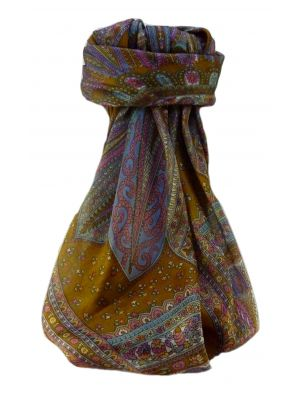 Mulberry Silk Traditional Square Scarf Nanda Gold by Pashmina & Silk