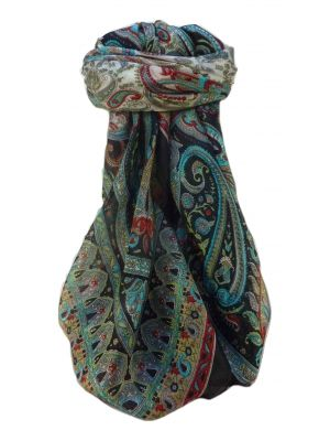 Mulberry Silk Traditional Square Scarf Noor Black by Pashmina & Silk