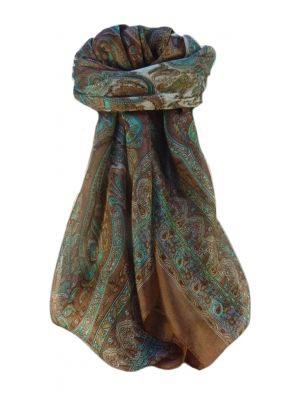 Mulberry Silk Traditional Square Scarf Noor Chestnut by Pashmina & Silk