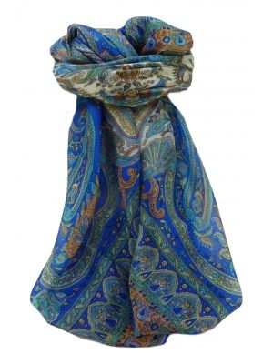Mulberry Silk Traditional Square Scarf Noor Blue by Pashmina & Silk