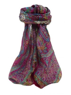 Mulberry Silk Traditional Square Scarf Noor Pink by Pashmina & Silk