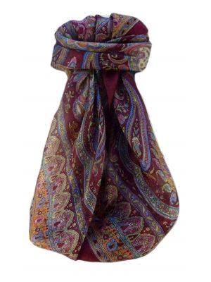 Mulberry Silk Traditional Square Scarf Noor Maroon by Pashmina & Silk