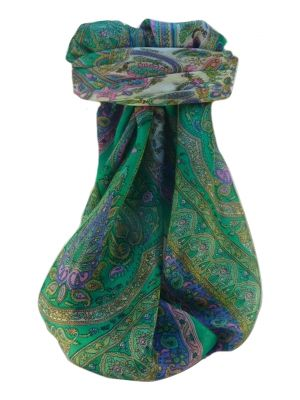 Mulberry Silk Traditional Square Scarf Noor Emerald by Pashmina & Silk
