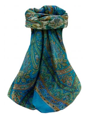 Mulberry Silk Traditional Square Scarf Noor Aqua by Pashmina & Silk
