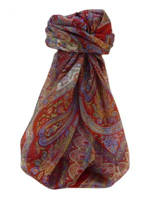 Mulberry Silk Traditional Square Scarf Noor Scarlet by Pashmina & Silk