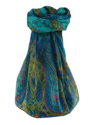 Mulberry Silk Traditional Square Scarf Takia Aqua by Pashmina & Silk