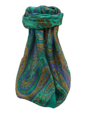 Mulberry Silk Traditional Square Scarf Takia Emerald by Pashmina & Silk