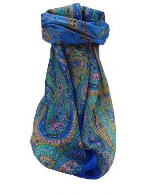 Mulberry Silk Traditional Square Scarf Takia Blue by Pashmina & Silk