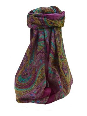 Mulberry Silk Traditional Square Scarf Takia Violet by Pashmina & Silk