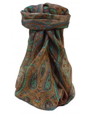 Mulberry Silk Traditional Square Scarf Takia Chestnut by Pashmina & Silk