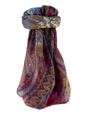 Mulberry Silk Traditional Square Scarf Waheed Rose by Pashmina & Silk