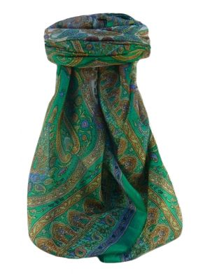 Mulberry Silk Traditional Square Scarf Waheed Emerald by Pashmina & Silk