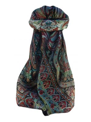 Mulberry Silk Traditional Square Scarf Waheed Black by Pashmina & Silk