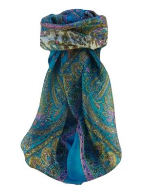 Mulberry Silk Traditional Square Scarf Waheed Aqua by Pashmina & Silk