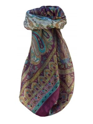 Mulberry Silk Traditional Square Scarf Waheed Maroon by Pashmina & Silk