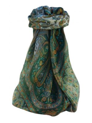 Mulberry Silk Traditional Square Scarf Waheed Sage by Pashmina & Silk