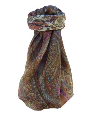 Mulberry Silk Traditional Square Scarf Waheed Chestnut by Pashmina & Silk