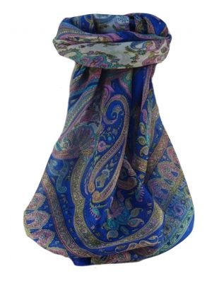 Mulberry Silk Traditional Square Scarf Waheed Blue by Pashmina & Silk